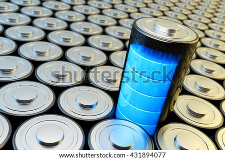 Electrical energy and power supply source concept, background with batteries and accumulator battery with blue charging level closeup view, 3d illustration - stock photo