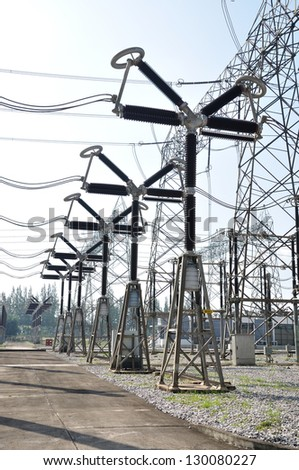 Electrical equipments in switchyard at powerplant. - stock photo