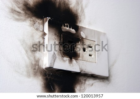 electrical failure in power outlet isolated - stock photo