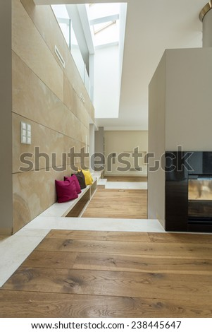 Electrical fireplace in contemporary and spacious interior  - stock photo