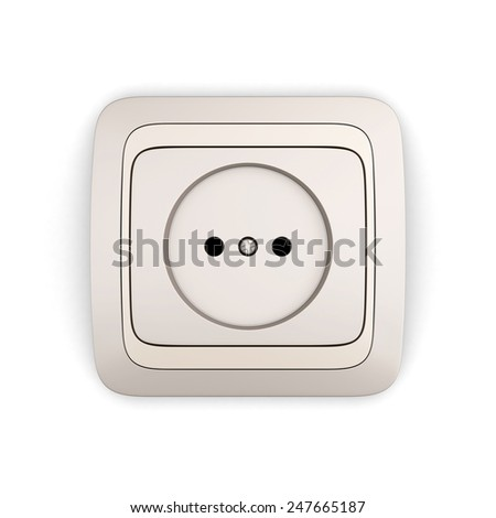 Electrical Outlet isolated on white background. 3d render image. - stock photo