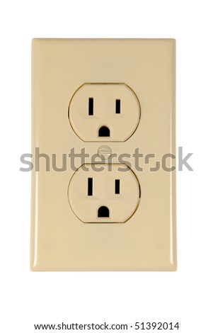 electrical outlet isolated over white background - With Clipping Path - stock photo