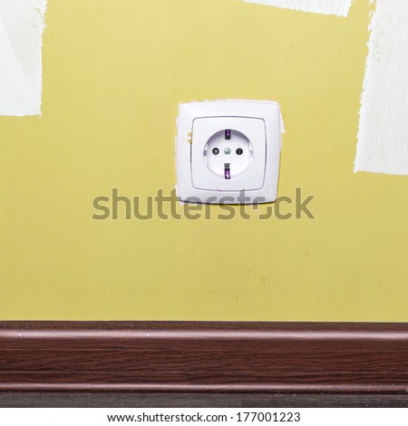 Electrical outlet on wall in room, interior  - stock photo
