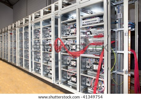 Electrical panel board construction detail - stock photo