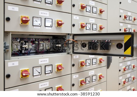 Electrical panel board motors control - stock photo