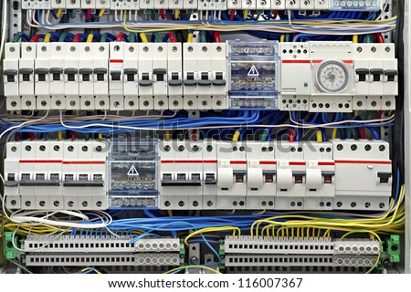 electrical panel with fuses closeup - stock photo