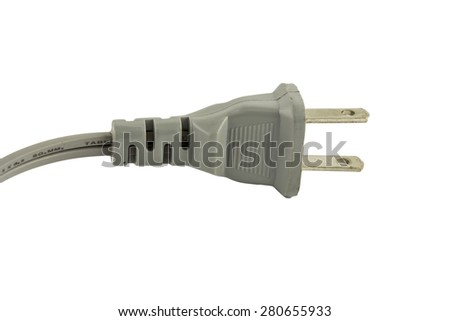 Electrical plug and electrical cord isolated on white background - stock photo