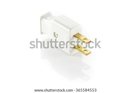 Electrical plug white color isolated on white background - stock photo