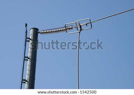 Electrical poles and wires - stock photo
