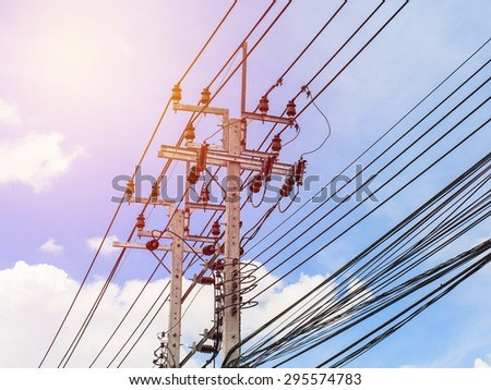 Electrical post . Vintage filter. - stock photo