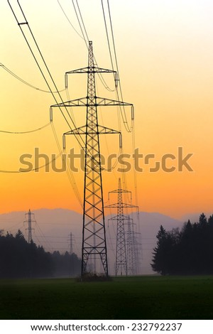 Electrical power lines. Electrical power and energy. Alternative energy - stock photo