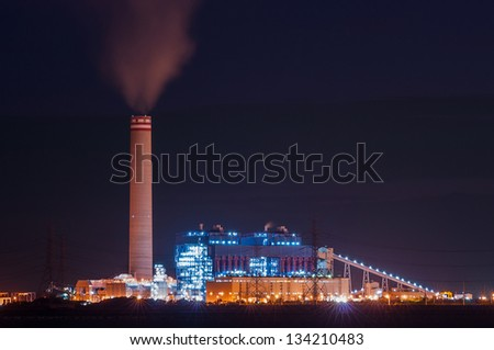 electrical power plant at night shot - stock photo