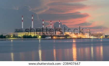 Electrical power plant in night,Bangkok Thailand - stock photo