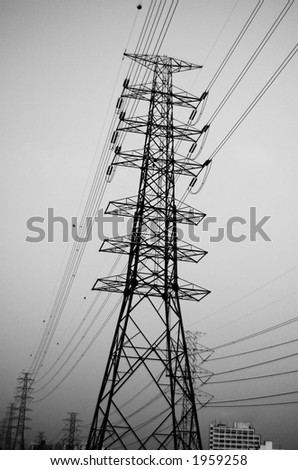 Electrical pylone in Black and White. Deep Depth of Field. - stock photo