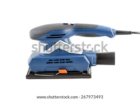 Electrical sander on white background - stock photo