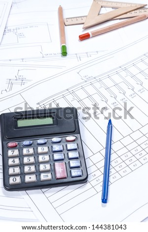 Electrical scheme and architectural plan, calculation - stock photo