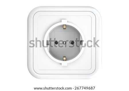electrical socket isolated on white background - stock photo