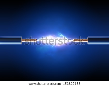 Electrical spark between  two insulated copper wires ( 3d render  ) - stock photo