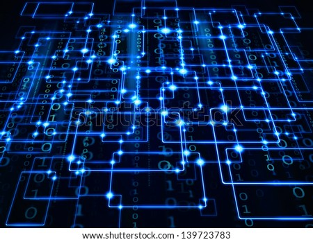 electrical synapse and binary code - stock photo