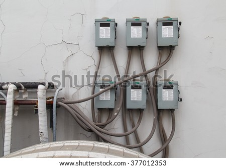 Electrical systems in building - stock photo