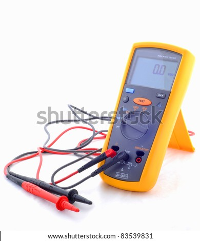 Electrical tools (digital insulation resistance tester) - stock photo