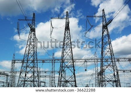 Electrical towers - stock photo