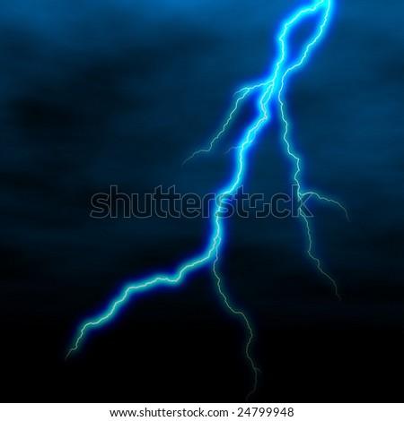 electrical white blue lightning over dark sky - stock photo