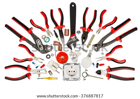 electrician and plumber tools with accessories, isolated white background - stock photo