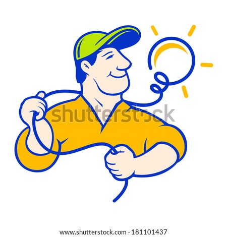 Electrician Branding Identity Corporate logo design template Isolated on a white background - stock photo