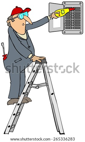 Electrician checking breakers - stock photo