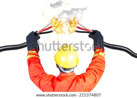 electrician connecting power cable electric shock during work  - stock photo