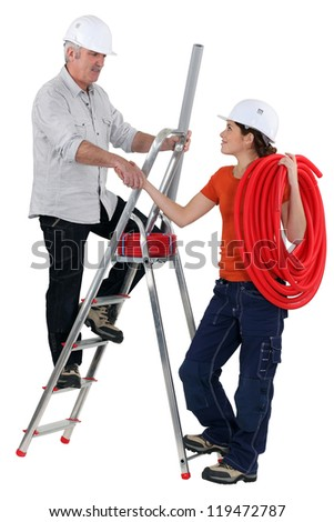 Electrician team - stock photo