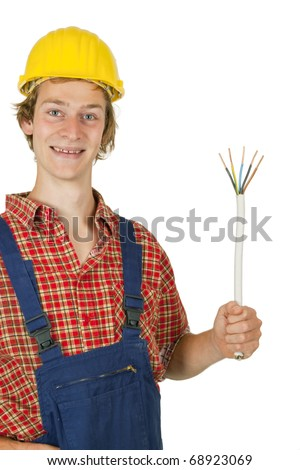 Electrician with power cable and circuit tester - isolated - stock photo