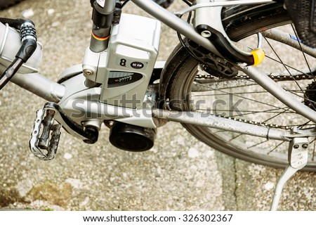Electricity bicycle motor with mark speed of 60 km per hour - stock photo
