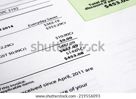 electricity bill closeup - stock photo