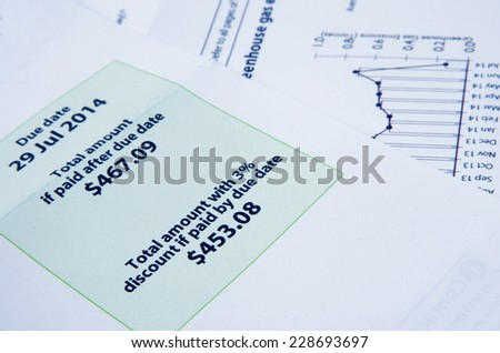 electricity bill with graph closeup - stock photo