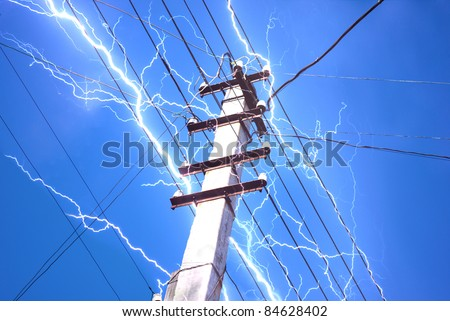 Electricity Flash on Communication Post Wires on Sky Background - stock photo