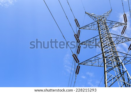 Electricity high voltage Pylon from a Dam  in the forest of Srinakarin Dam National Park ,Kanchanaburi, Thailand - stock photo