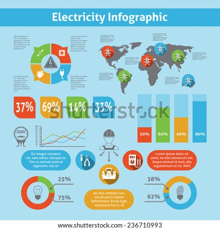 Electricity infographic set with electronic equipment icons charts and world map  illustration - stock photo