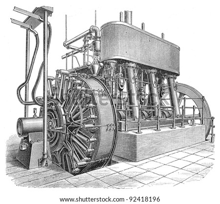 Electricity machine (direct current) / vintage illustrations from Meyers Konversations-Lexikon 1897 - stock photo