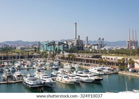 Electricity plant close to Port Forum in the north of Barcelona to the energy supply of the metropolis. The old industrial estate was rebuild with a new port, technology and industrial buildings - stock photo