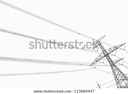 Electricity pole over white background - stock photo