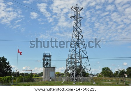 Electricity post in Canada - stock photo