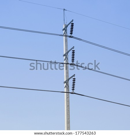 Electricity post on blue sky - stock photo