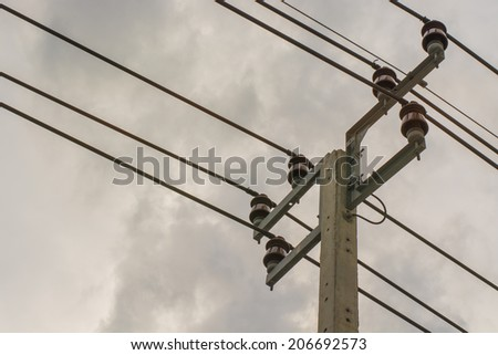 Electricity post with sky - stock photo
