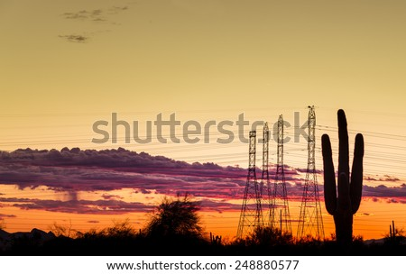 Electricity power supply concept image for dry west desert regions of USA. Saguaro tree in foreground with power lines silhouetted against dramatic late evening sunset. - stock photo