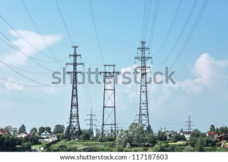 electricity pylon power line - stock photo