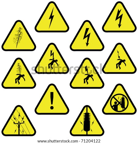 Electricity sign set - stock photo
