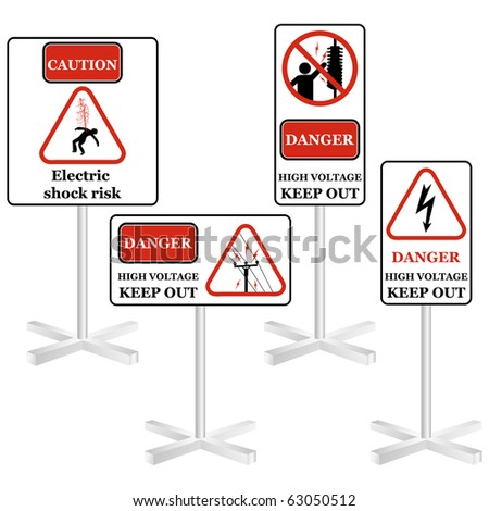 Electricity sign set isolated on white - stock photo