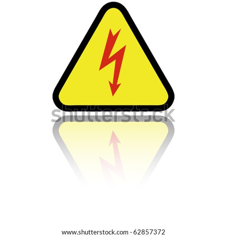 Electricity sign with reflection isolated on white - stock photo